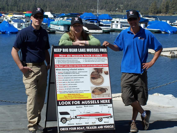 Lake heroes Tyler Cockrell and Stacy Marquardt, both with the MWD, and John Bishop of Pine Knot Marina kept a Quagga-infested boat from contaminating Big Bear Lake.