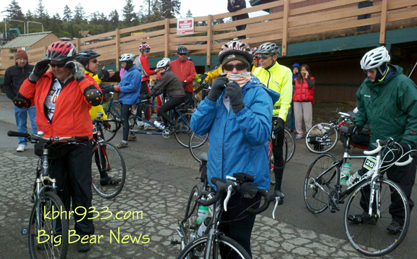Riders brace for the cold trip ahead at Bear Mountain.