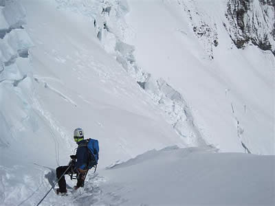 Team Jordan Romero has not yet posted photos from atop Everest, but here is Jordan on an earlier descent on the mountain.