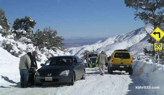 Southern California Edison trucks, trying to get to the Big Bear Valley from Victorville, to assist Bear Valley Electric crews with power outages were long-delayed, given poor road conditions, stranded vehicles, and those who were not prepared for mountain travel.