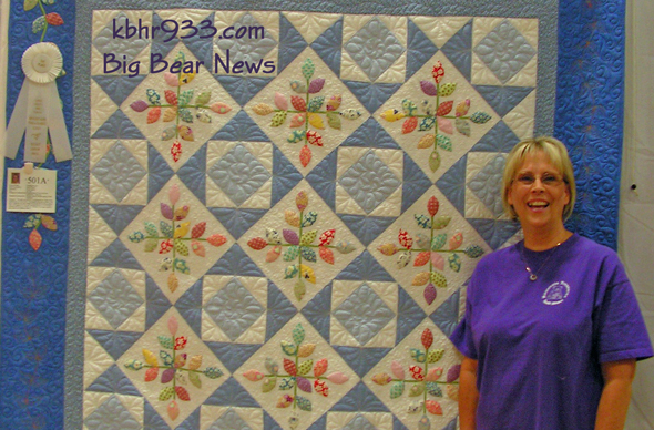 Susan Meyers of Big Bear won 1st place in the Viewers Choice at the Busy Bear Quilt Show