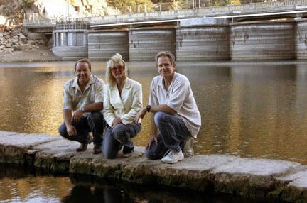 "Sweet moment: Tim and Kim Sweet, here with friend and producer Rick Keppler, at the Big Bear dam in 2004 for filming of one of 24 episodes of the ""Big Bear History Show."" (Photo courtesy Rick Keppler)"