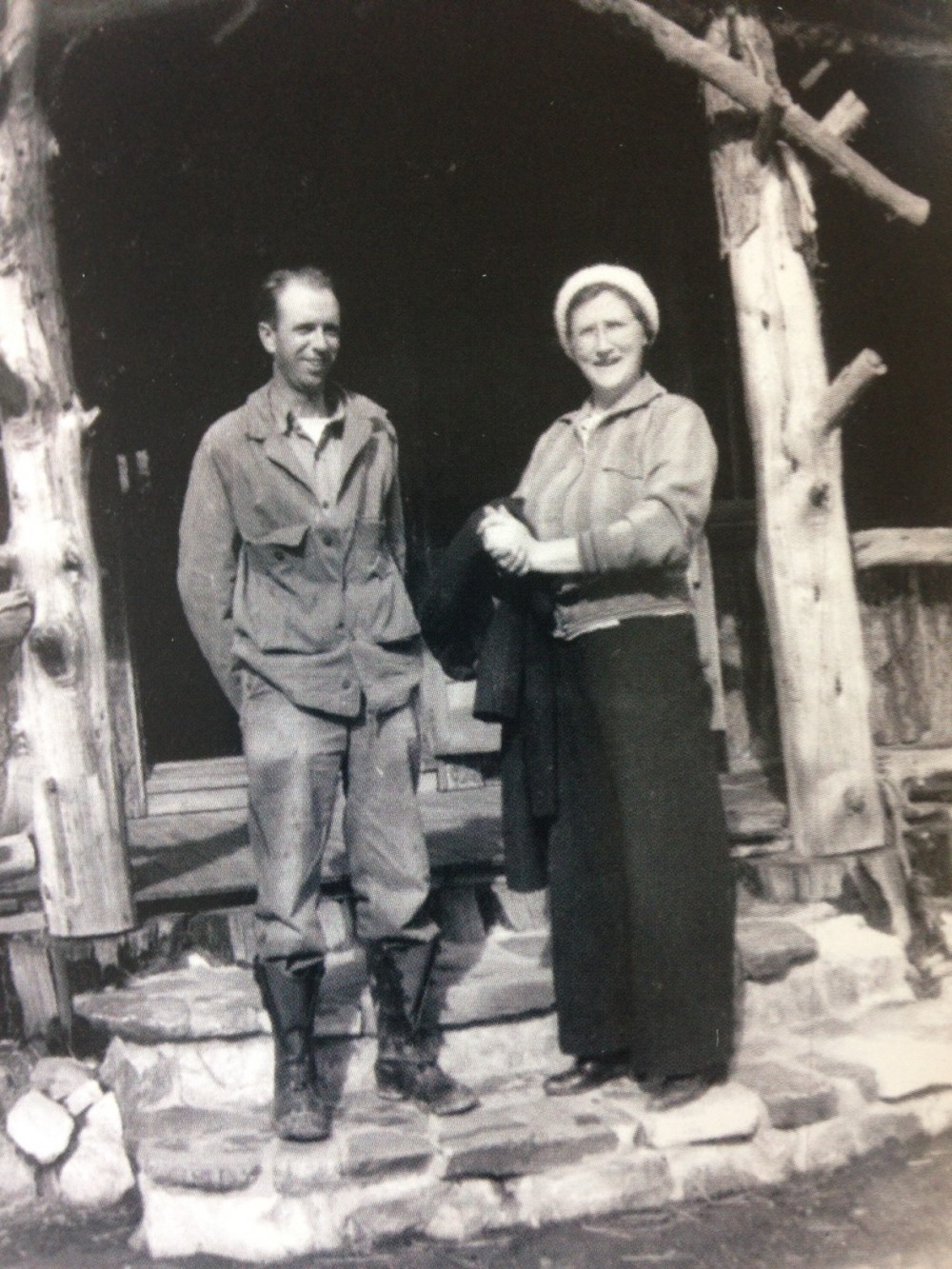 Homer and Frances in front of the old general store
