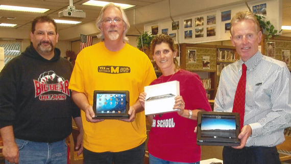 BBHS Principal, Mike Ghelber, teachers Mike Harrison and Lisa Waner and Superintendent Kurt Madden Receive iPads for the English Dept from PSA