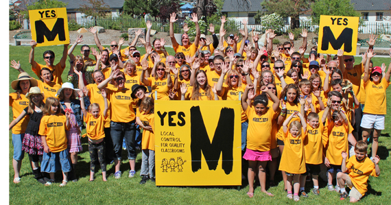 Families show their support of Measure M at a rally on Saturday, June 9th.