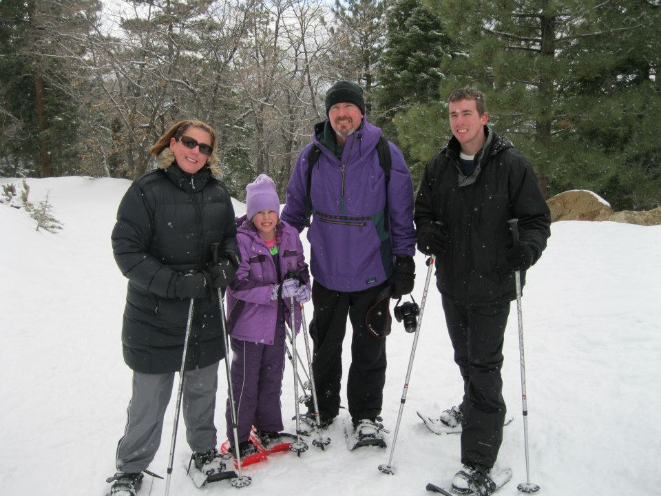 snowshoe family photo