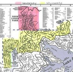 Evacuation Areas Lake Arrowhead - Red Mandatory .. Yellow Volentary
